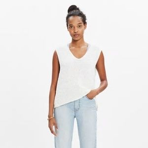 Madewell white high low stitch weave sweater vest
